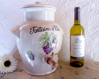 Stoneware wine dispenser Vintage French wine fountain with vine and grapes motif and original barrel tap
