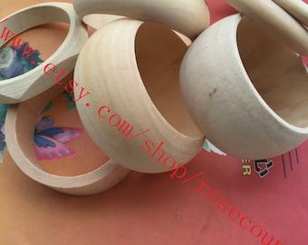 7pcs 81mm assorted original round bangle wood bracelets findings--unfinished