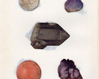 1903 Quartz Antique Gem Print Gems Rocks Mineral Lithograph Science Matted 11 X 14