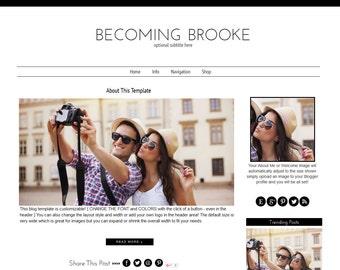 Blogger Template -  Modern Blogger Template - Mobile Responsive Blogger Template - Black and White Blogger Template - Brooke