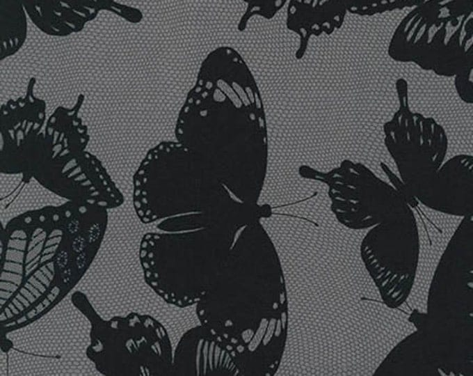 Black and White Charcoal Butterfly - 1/2yd