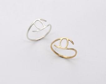 small eye ring / brass or sterling silver