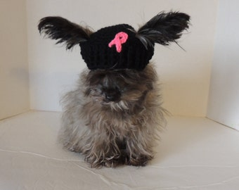 Breast cancer awareness hat- dog hat-beanie-pet hat- crochet hat- crochet pet hat-crochet dog hat-crochet cat hat-cat hat-crochet-cancer hat