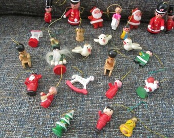 25 vintage wooden christmas ornaments