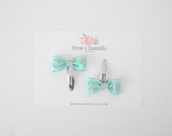 KELSEY Mini Bow Clip in Aqua Floral