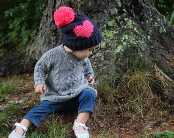 Custom Kids Slouchy Hat with Heart and Oversized Pompomh Heart and Oversized Pompom