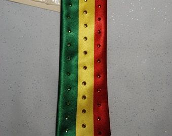 Rasta flag rhinestone necktie