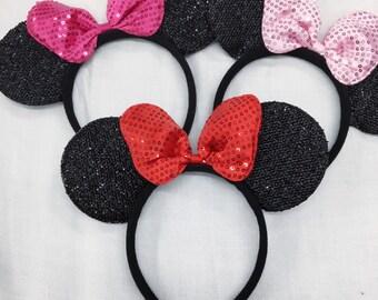 Sparkle minnie mouse LARGE bow ears headband / minnie inpried princess ears / disney ears headband /pink red Minnie headband/ Disney party
