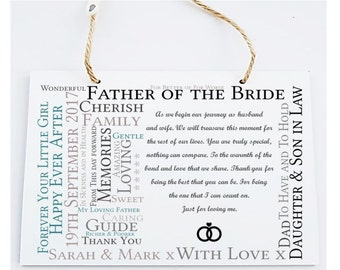 Personalised Wedding Poem Verse Hanging Plaque Sign - Suitable for Father of the Bride/Groom