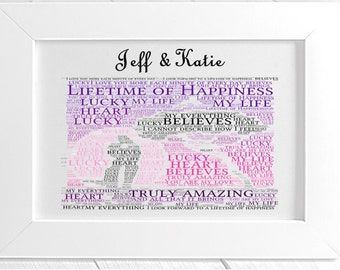 Personalised Love Framed Word Art - Lifetime of Happiness