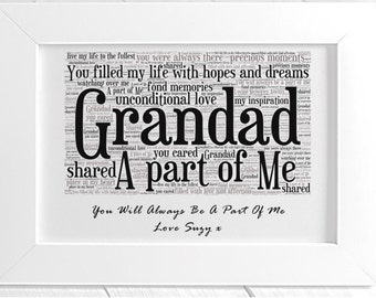 Personalised Grandfather Remembrance Framed Word Art