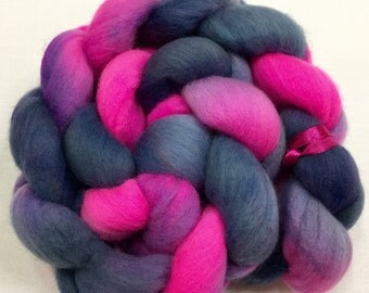 Organic Polwarth, 3.5oz, Wool, Roving, spinning, felting, needle crafts, hand Dyed, 110