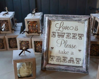 Love is Sweet Sign,distressed frame,candy bar sign,dessert table sign,wedding favors sign,rustic wedding,please take a treat,framed wedding
