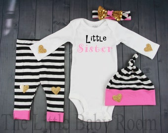 Little Sister,Baby Girl Coming Home Set,Personalized Onesie,Baby Leggings and Headband,Name,Girls Hospital Set,Pink,Gold,Black Stripe,Hat,
