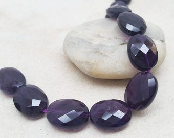 Amethyst Flat Oval Beads