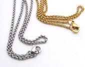 2mm Rolo Chain, Stainless Steel Chain with Lobster Clasp, Finished Necklace 2mm chain - Stainless Steel Rolo Chain, Gold or Silver (143)
