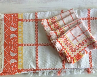 Vintage Orange, Yellow and White Tablecloth With Matching Napkins