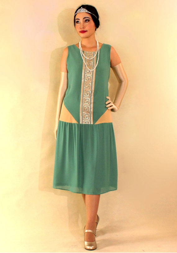 1920s-inspired flapper dress in sea green and dark beige green Great Gatsby dress art deco fashion  art deco dress robe Charleston $130.00 AT vintagedancer.com