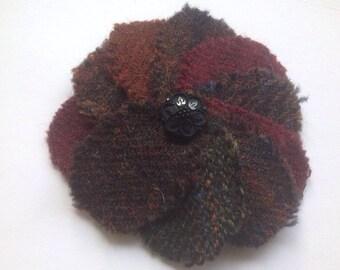 Tweed Flower Brooch