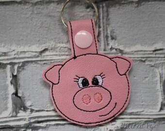 Pig - Snap/Rivet Key Fob - DIGITAL Embroidery Design