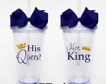 His Queen, Her King, Bride and Groom Set of 2 - Acrylic Tumbler Personalized Cup