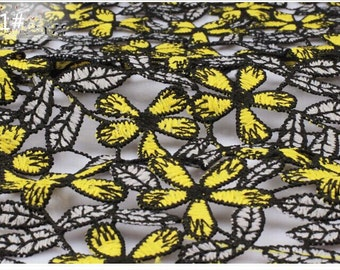 1 Yard Milk Fiber Lace Fabric,Yellow&Black,Gray Multicolor Hollow Dress Lace,French Bridal Dress Lace