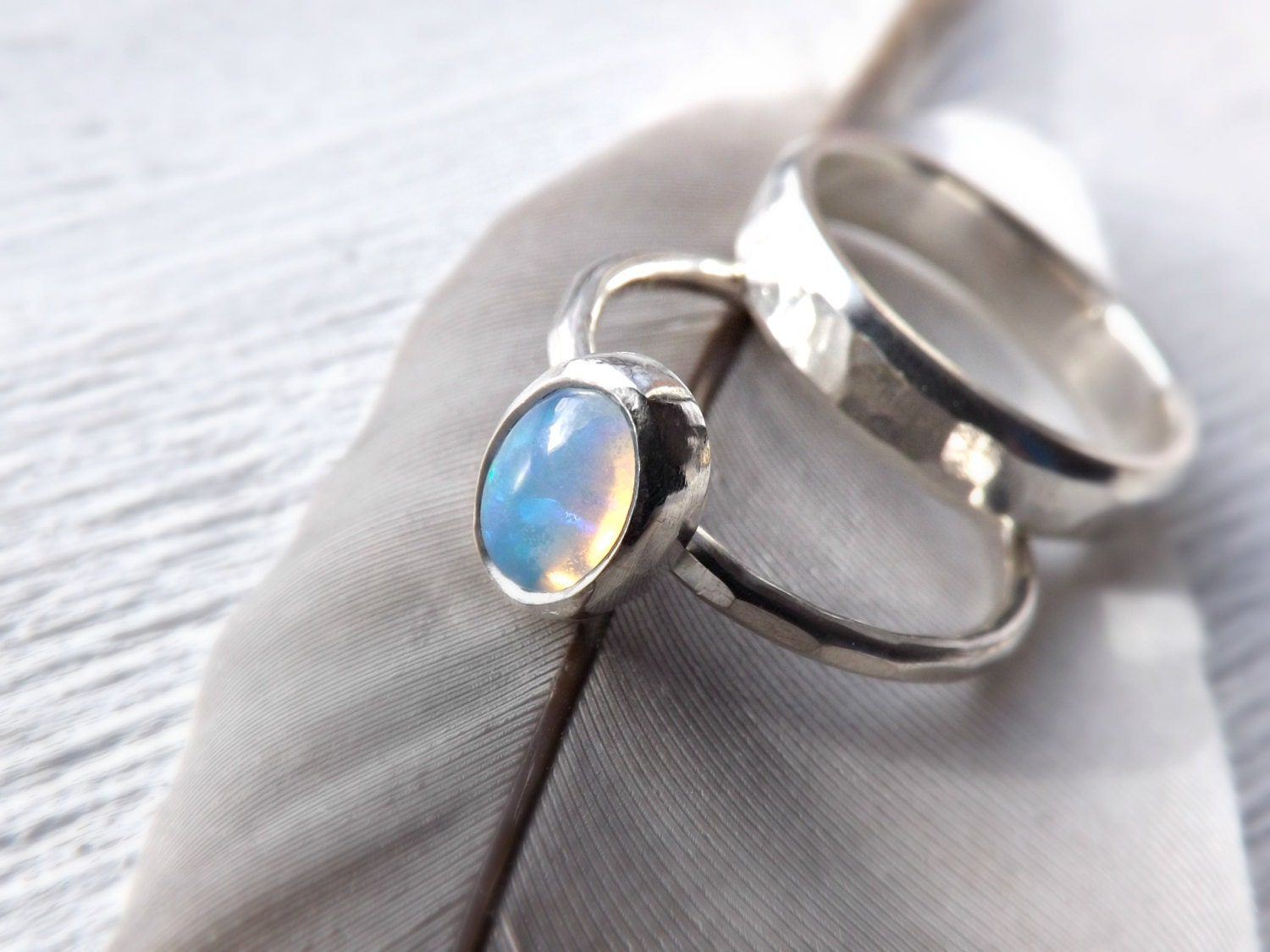 silver opal ring set opal bridal ring set opal by CrazyAssJD