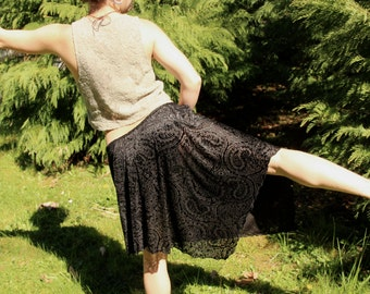 Vintage 90's Black Paisley Velvet Burnout Semi Sheer Asymmetrical Hem Skirt