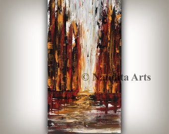 Red Home Decor Cityscape Painting Original Art Large Painting Modern Art Red Black Abstract Art Oil Painting Landscape City Art, Skyline