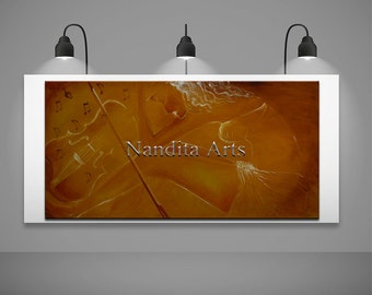Violin figure music art modern painting wall art on canvas original music online gallery gold contemporary art by Nandita