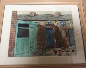 Original painting of the yard in water colour