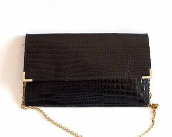 Vintage black clutch, croco way, with strap