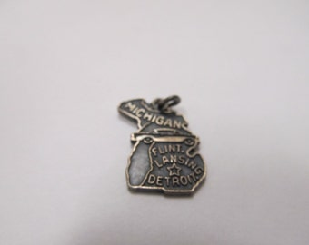 Vintage Sterling Silver  Michigan State Charm Item W # 209