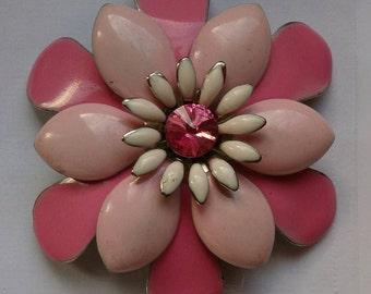 Vintage Pink Enamel Flower Brooch.