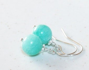Amzonite Drop Earrings, Aqua Blue Amazonite, Sterling Silver, Amazonite Dangle Earrings
