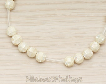 ETC013 //  Cream Colored Mother of Pearl MOP Drilled 6mm Round Ball Beads, 4pc