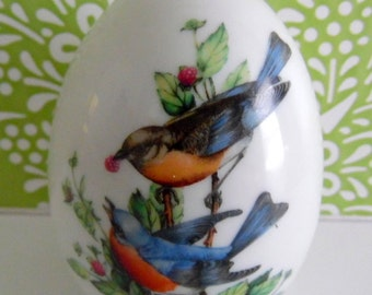 Avon porcelain egg.  Summer's song is warm & bright.  Accented with lots of brightly colored birds