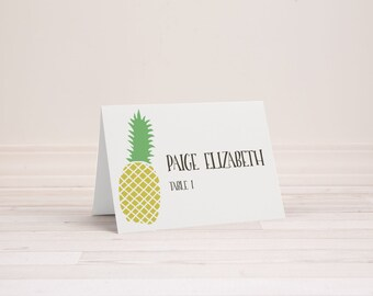 Wedding Place Name Cards - Pineapple - Optional Table Number and Menu Choice