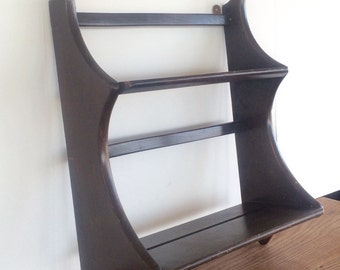 Vintage Wood Shelf Wooden Shelves Wall Rack England ERCOL Mid Century Dark Elm