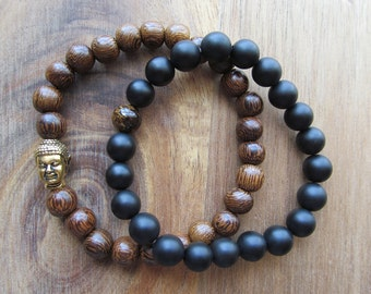 Bracelet Set with Cacao Wood, Gold Buddha, Bronzite and Matte Black Onyx, Stacking Bracelets, Men's Bracelet, Beaded Bracelet, Mala Bracelet