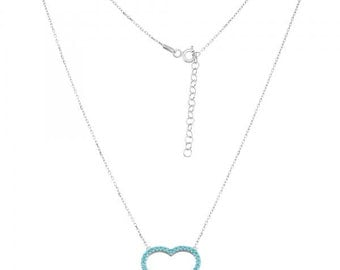 "Turquoise CZ Open Heart 17+1.5"" Necklace in 925 Sterling Silver"