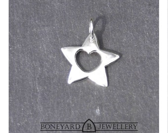 Sterling Silver Star with a Heart Pendant