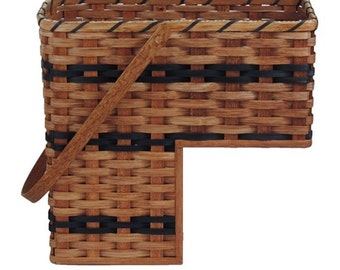 Amish Handmade Stair Step Basket w/Swinging Handle