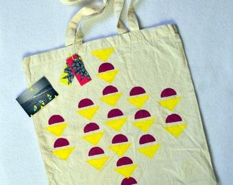 Bag Tote Bag geometric pink & yellow.