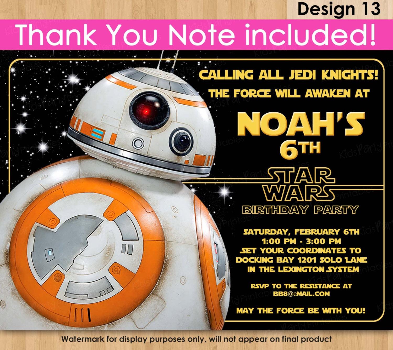 BB8 Invitation Star Wars Invitation PRINTABLE Star Wars The – Free Printable Star Wars Birthday Party Invitations