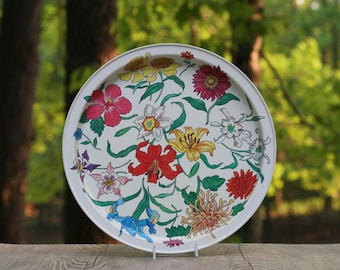 Colorful Vintage Round Metal Floral Tray Potpourri Press / Orchid Daffodil Hibiscus Iris Tray / Bright Floral Tray / Colorful Floral Tray