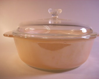 Fire-King Copper Tint Round Casserole Dish with Lid