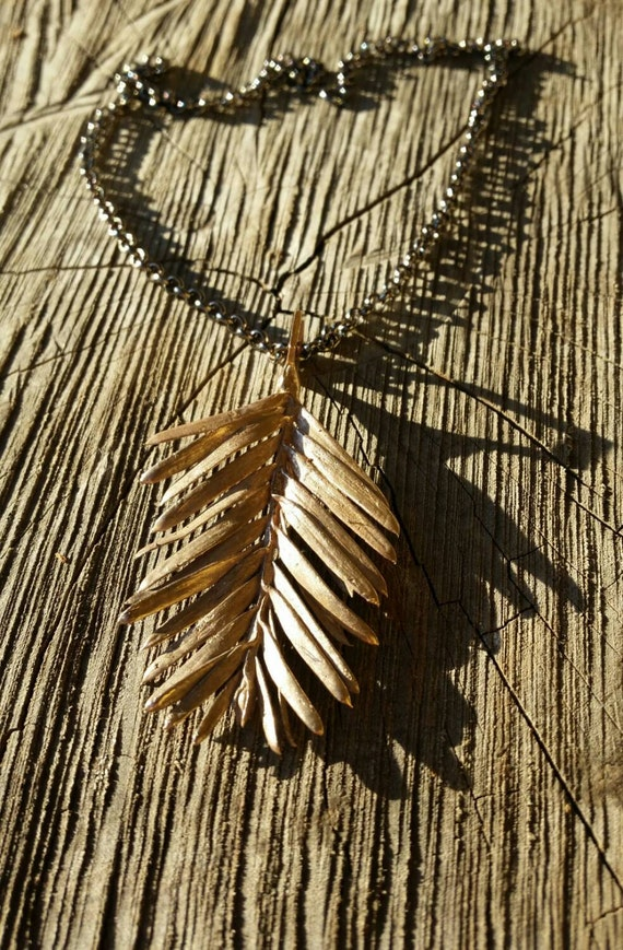 Redwood Leaf and Hexagon Cast Bronze Necklace with Chain