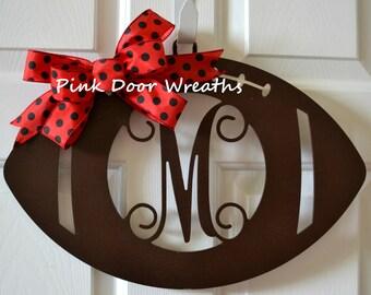 Football door hanger - monogram football wreath - Wooden football door hanger - Football door hanger personalized  Fall football door hanger