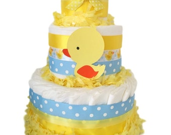 Rubber Ducker Diaper Cake in Yellow, Blue and White, Duck Theme Baby Shower Centerpiece, Decoration